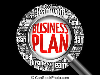 Business Plan word cloud with magnifying glass, business...