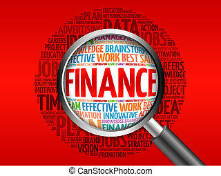 FINANCE word cloud with magnifying glass, business concept