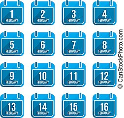 February vector flat calendar icons with long shadow...