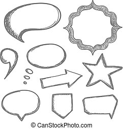 Vector hand drawn speech bubbles