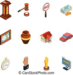 Isometric Auction Icon Set - Isometric auction isolated icon...