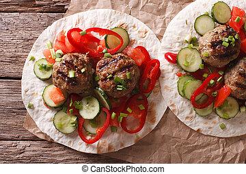 grelhados, carne, Bolas, com, fresco, legumes, ligado, Um,...