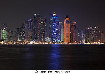 Doha skyline at night. Qatar