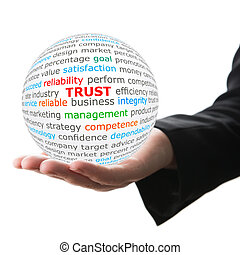 Hand take white ball with red inscription trust - Trust...