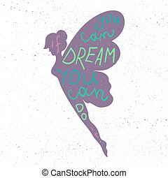 Lettering motivation poster Inspirational quote about dream...