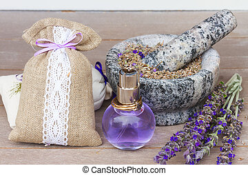 Lavender flowers spa - Lavender herbal water in a glass...