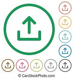 Upload outlined flat icons - Set of upload color round...