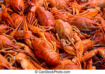 Bunch of red cooked crayfish