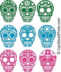 sugar skull - Gothic coat of arms with skull, grunge.vintage...