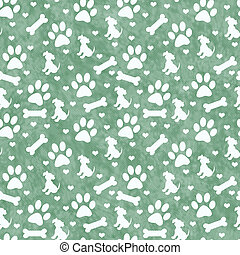 Green Doggy Tile Pattern Repeat Background - Green Dog Paw...