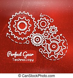 Abstract red background with gears design