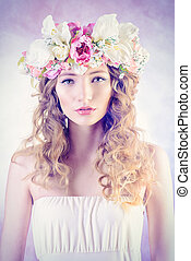 fairy girl - Sensual blonde girl with flowers in her hair...