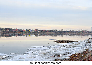 View of Neva River - View of Neva River at cloud spring...