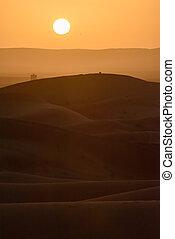 Sunset over the dunes, Morocco, Sahara Desert - Sand dunes...