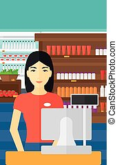 Saleslady standing at checkout - An asian saleslady standing...