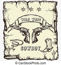 sheriffs star, cowboy boots and revolvers - Vector...