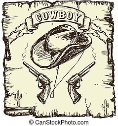 Vector illustration cowboy hat and revolvers. Hand drawing...