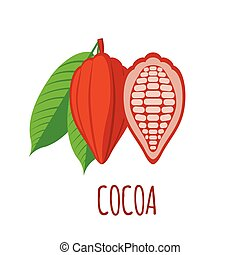 Cocoa icon in flat style on white background - Cocoa vector...
