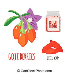 Superfood goji berries set in flat style. - Superfood goji...