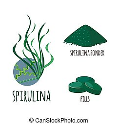 Superfood spirulina set in flat style. - Superfood spirulina...