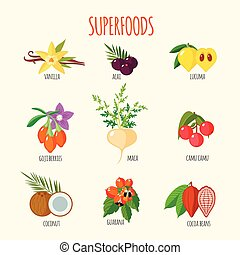 Set of superfoods in flat style Healthy lifestyle Fruits and...