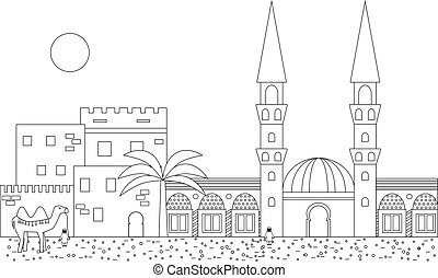 Islamic outline cityscape with houses, mosque and minaret....