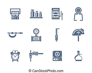 Measurement instruments glyph style vector icons - Set of...