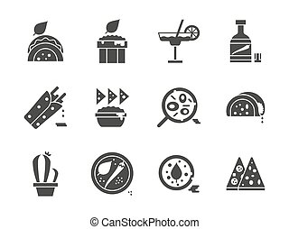 Mexican menu glyph style vector icons set