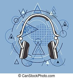 Headphones Over Triangle Geometric Background