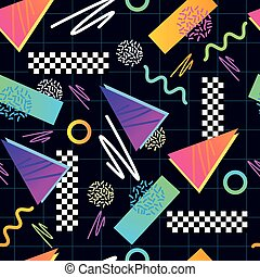 Eighties Seamless Pattern Vector. Classic 1980s seamless...