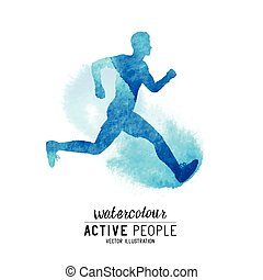 Watercolour Running Man Vector