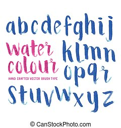 Watercolour Brush Letters Hand made Alphabet lettering in...