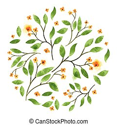 Floral Vector Watercolour Leaves and branches with orange...
