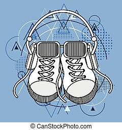Foot Wear Sneakers Shoes Glasses Headphones Over Triangle...