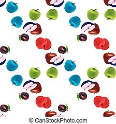 apple pear summer fruits seamless pattern - Seamless pattern...