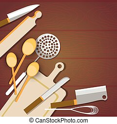 Cooking Utensils Kitchen Table Wooden Texture With Copy...