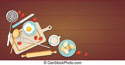 Cooking Utensils Cook Process Eggs Strawberry Cup Kitchen...