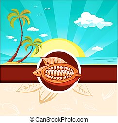 cocoa bean design with tropical nature
