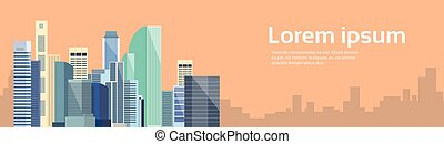 Big Modern City View Cityscape Skyline Banner With Copy...