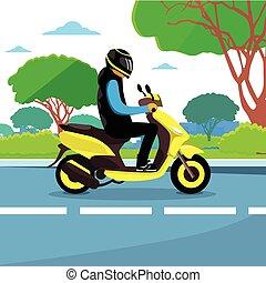 Man Ride Motorcycle Wearing Hemlet - Man Ride Motorcycle...