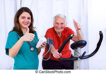 Still got it - Elderly woman doing sport effort on a...