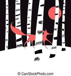 Background with birch trees and red Fox in the woods