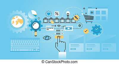 Online shopping procedure - Flat line design website banner...