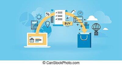 E-commerce - Flat line design website banner of e-commerce....