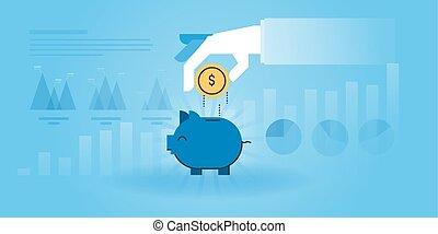 Banking - Flat line design website banner of banking, saving...
