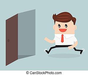 Businessman running to opened door