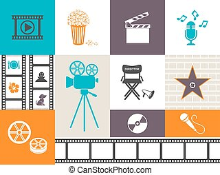 Vector retro movie and music icons colorful collection