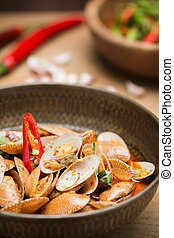 stir fried clams with roasted chili paste - Delicious Thai...