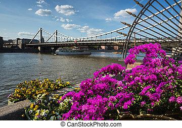 Krymsky Bridge is steel suspension bridge in Moscow Russia....