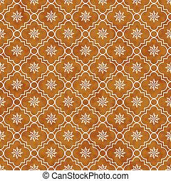 Orange and White Eight Pointed Pinwheel Star Symbol Tile...